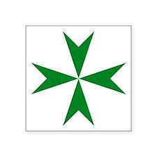 Green St. Lazarus Cross Symbol Square Sticker 3&qu