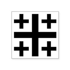 "Jerusalem Cross Symbol Square Sticker 3"" X 3&"