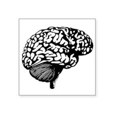 "Human Brain Symbol Icon Square Sticker 3"" X 3"