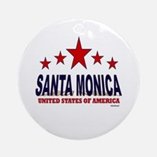 Santa Monica U.S.A. Ornament (Round)