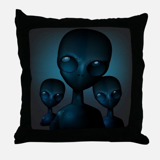 Friendly Blue Aliens Throw Pillow
