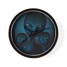 Friendly Blue Aliens Wall Clock
