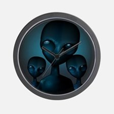 Friendly Blue Aliens Wall Clock