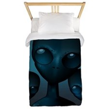Friendly Blue Aliens Twin Duvet