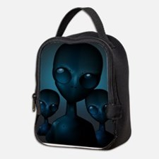 Friendly Blue Aliens Neoprene Lunch Bag
