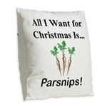 Christmas Parsnips Burlap Throw Pillow