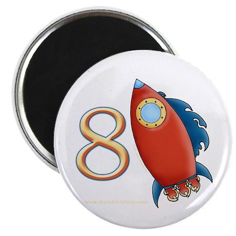 Boy's Rocket 8th Birthday Magnet
