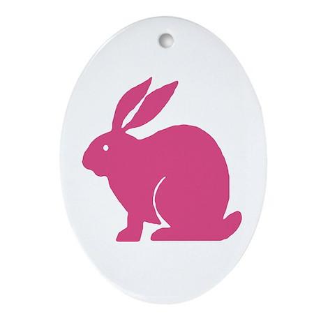 Pink Bunny Rabbit Oval Ornament
