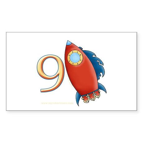 Boy's Rocket 9th Birthday Rectangle Sticker