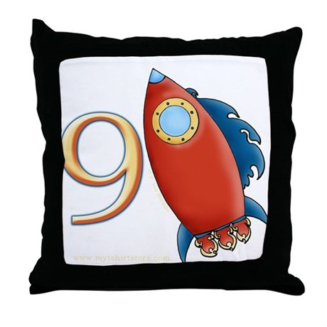 Boy's Rocket 9th Birthday Throw Pillow