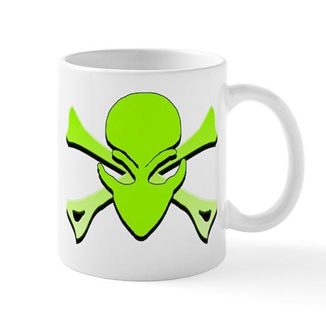 Alien Skull N Crossbones Lime Mug