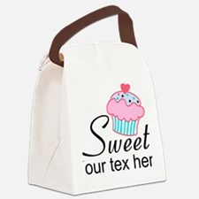 personalized Sweet Cupcake Canvas Lunch Bag