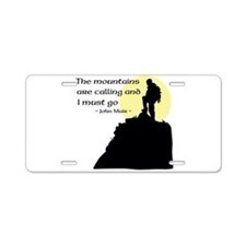 Mountains Calling Aluminum License Plate
