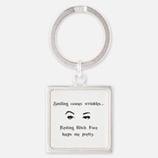 Resting Bitch Face Square Keychain