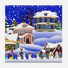 Christmas Village Tile Coaster