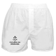 Keep Calm by focusing on Spiderwebs Boxer Shorts