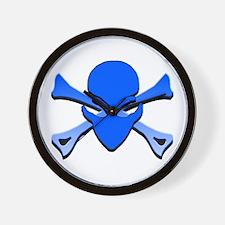 Alien Skull N Crossbones Blue Wall Clock