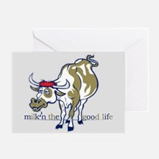 Cow Milking the Good Life Greeting Cards