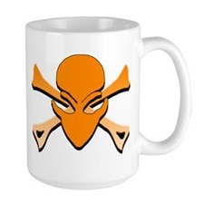 Alien Skull N Crossbones Orange Mug