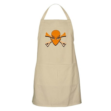 Alien Skull N Crossbones Orange BBQ Apron