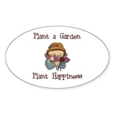 Plant Happiness Oval Decal