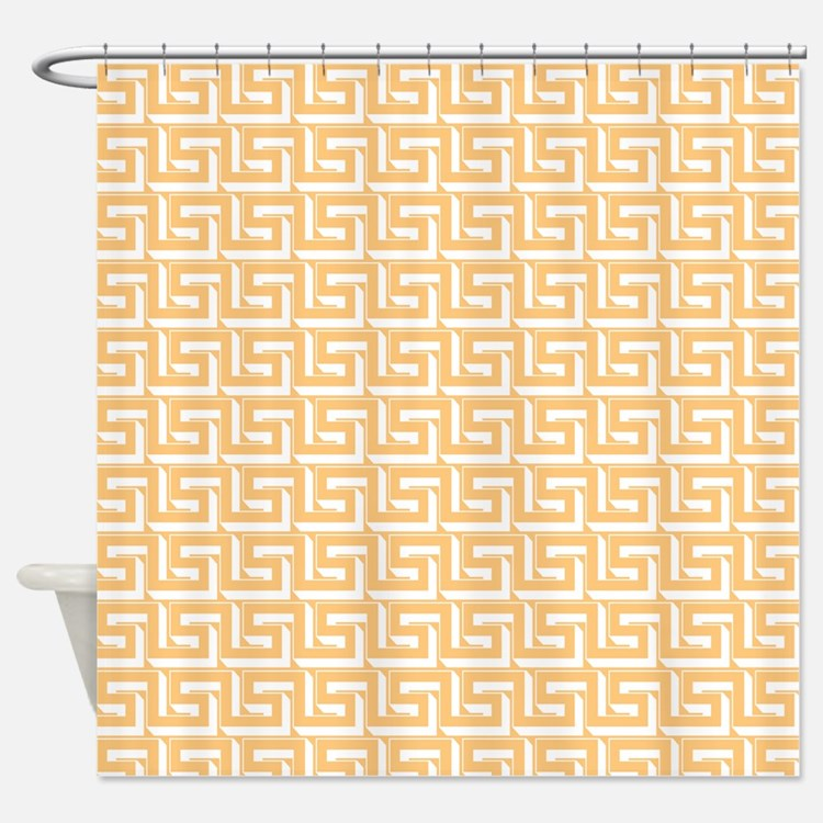 Elegant Yellow Greek Key Shower Curtain