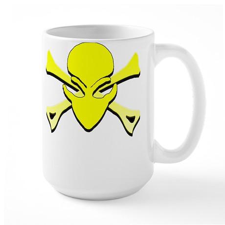 Alien Skull N Crossbones Yellow Large Mug