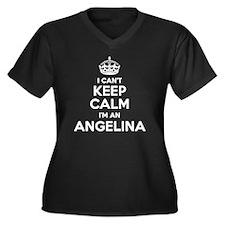 Cute Angelina Women's Plus Size V-Neck Dark T-Shirt