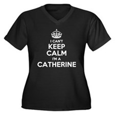 Cute Catherine Women's Plus Size V-Neck Dark T-Shirt