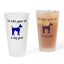 40 dog years blue dog 1C Drinking Glass