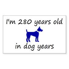 40 dog years blue dog 2 Decal
