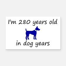 40 dog years blue dog 2 Rectangle Car Magnet