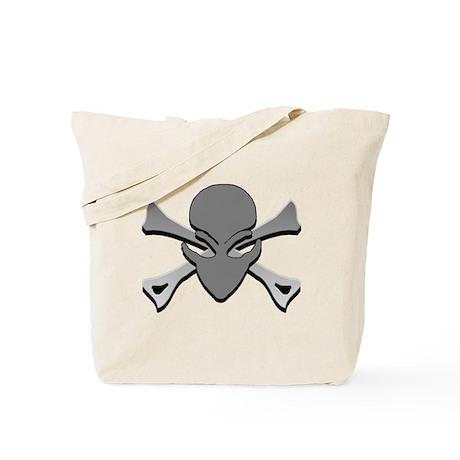 Alien Skull N Crossbones Green Tote Bag