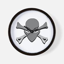 Alien Skull N Crossbones Green Wall Clock