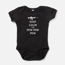 Keep Calm and Pew Pew Pew White Baby Bodysuit