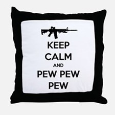 Keep Calm and Pew Pew Pew AR15 Throw Pillow
