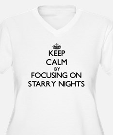 Keep Calm by focusing on Starry Plus Size T-Shirt