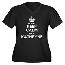 Unique Kathryn Women's Plus Size V-Neck Dark T-Shirt