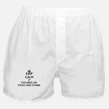 Keep Calm by focusing on Sticks And S Boxer Shorts