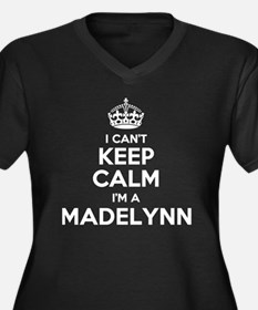 Cute Madelynn Women's Plus Size V-Neck Dark T-Shirt