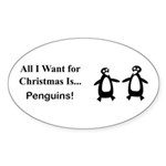 Christmas Penguins Sticker (Oval 10 pk)