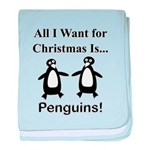 Christmas Penguins baby blanket