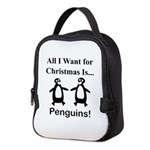 Christmas Penguins Neoprene Lunch Bag