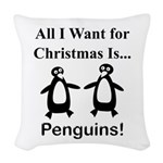 Christmas Penguins Woven Throw Pillow