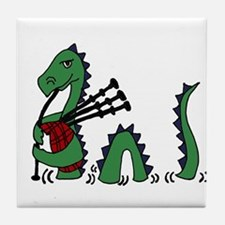 Loch Ness Monster Bagpipes Tile Coaster
