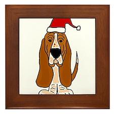 Funy Basset Hound Christmas Art Framed Tile