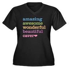 Amazing Cave Women's Plus Size V-Neck Dark T-Shirt