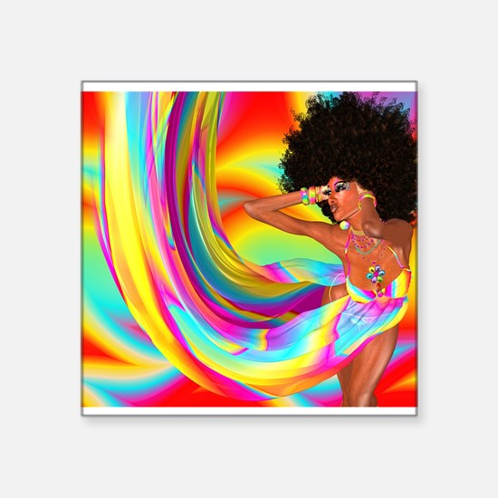 Sexy woman with afro haircut is dancing di Sticker