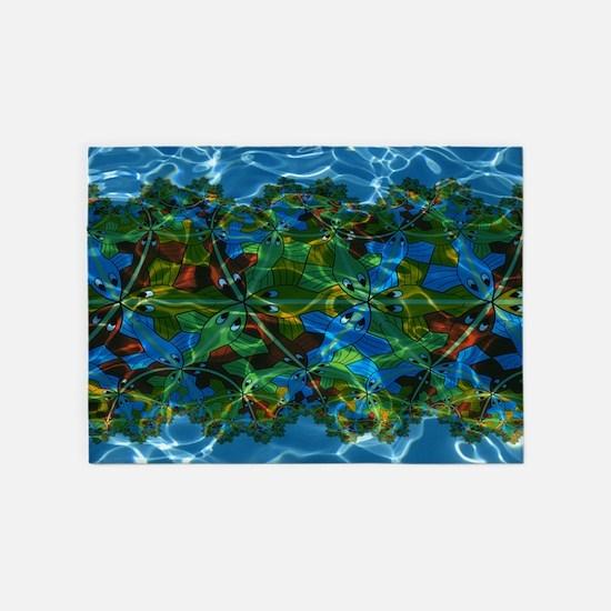M. C. Escher Fish Under Water 5'x7'area Rug