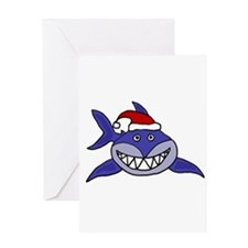 Shark Christmas Cartoon Greeting Cards